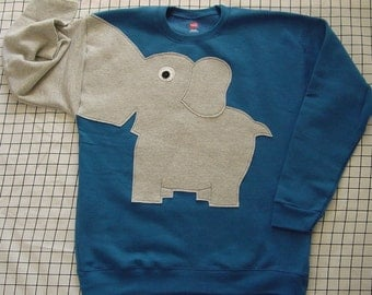 NEW Elephant Trunk sleeve sweatshirt sweater jumper KIDS medium Royal blue
