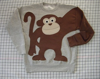 MONKEY AROUND sweatshirt sweater jumper KIDS your choice of size and color