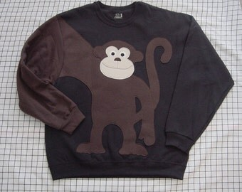 MONKEY sweatshirt,monkey shirt, monkey jumper, Adult size You Choose Color and size, Year of the Monkey, back to school
