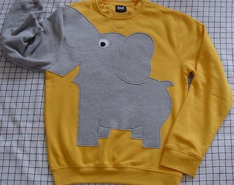 Elephant Sweatshirt, Yellow elephant trunk sleeve sweatshirt, elephant sweater, elephant jumper. Adult sizes, unisex sweatshirt, puppet