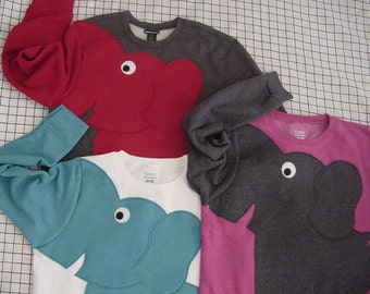 Trunk Sleeve Elephant sweatshirt. CUSTOMiZE YOUR OWN color. Elephant sweater, jumper. elephant shirt