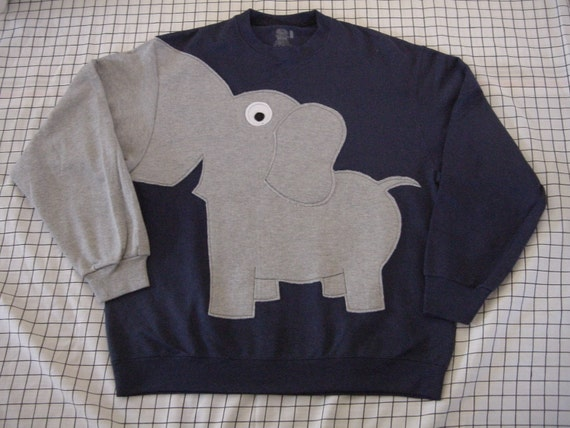 Elephant Trunk sleeve sweatshirt sweater jumper mens L NAVY Blue