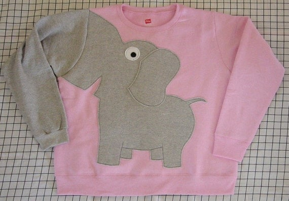 Fun Elephant Trunk sleeve sweatshirt LADIES S Pale Pink