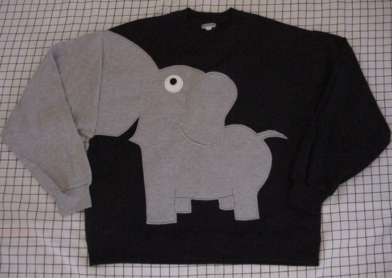 Elephant Trunk sleeve sweatshirt sweater jumper mens L Black
