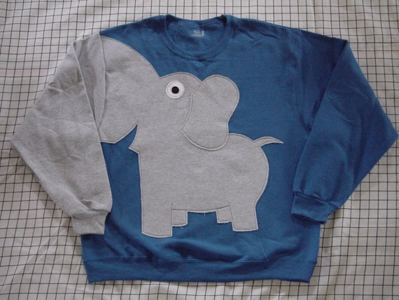 Fun Elephant Trunk sleeve sweatshirt jumper MENS M Royal Blue
