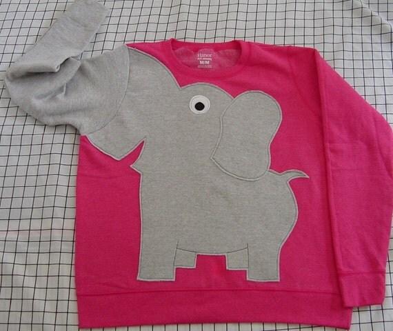 Elephant Trunk sleeve sweatshirt sweater jumper LADIES M Bright PInk