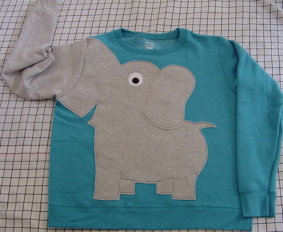 Elephant Trunk sleeve sweatshirt sweater jumper LADiES XL  Peacock Blue crewneck