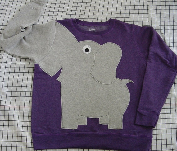Elephant Trunk sleeve sweatshirt sweater jumper LADIES S PuRpLe