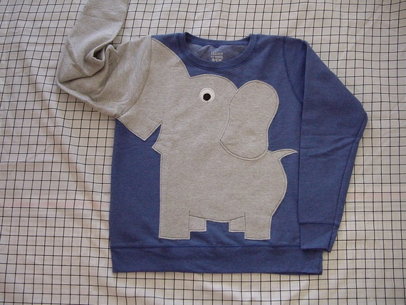 Elephant Trunk sleeve sweatshirt sweater jumper LADIES L Bright Blue