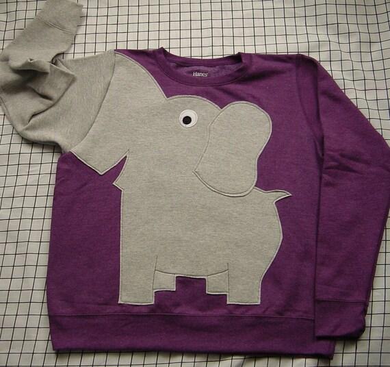 Elephant Trunk sleeve sweatshirt sweater jumper LADIES M PLUM purple