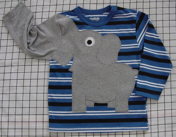 Elephant trunk sleeve toddlers size 3T crewneck ROYAL STRIPE
