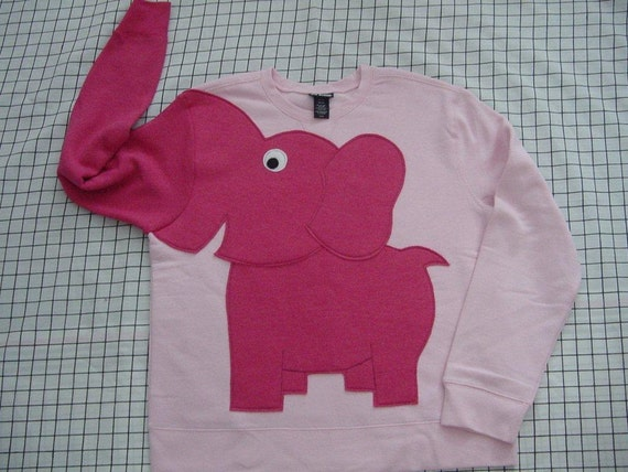 PINK RIBBON Fun Elephant Trunk sleeve sweatshirt LADiES M 100 percent proceeds to Cindy's walk