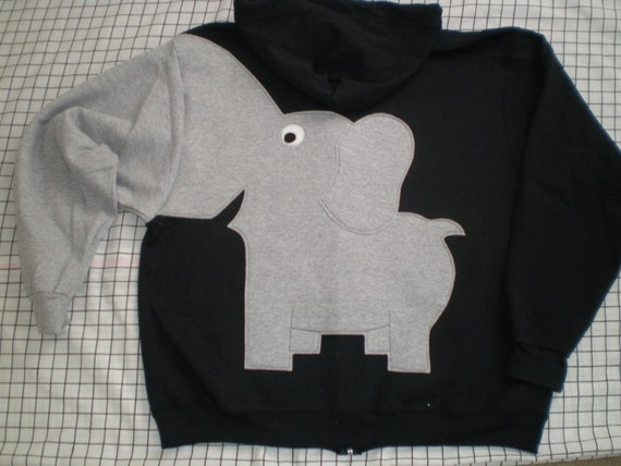 ZiP HOoDIE Elephant Trunk BACK sleeve sweatshirt sweater jumper Mens XL oR CUSTOMiZE your own