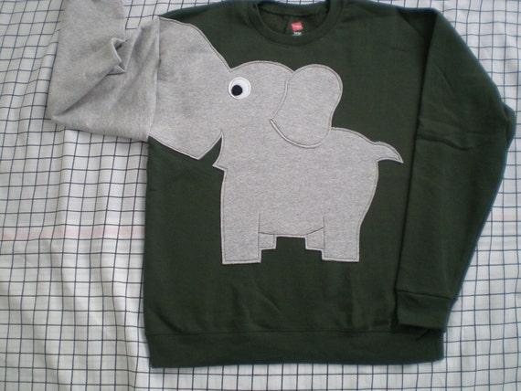 NEW Elephant Trunk sleeve sweatshirt sweater jumper KiDS S,M,L Olive Green