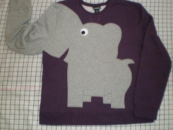 Elephant Trunk sleeve sweatshirt sweater jumper LADIES S EGGPLANT purple