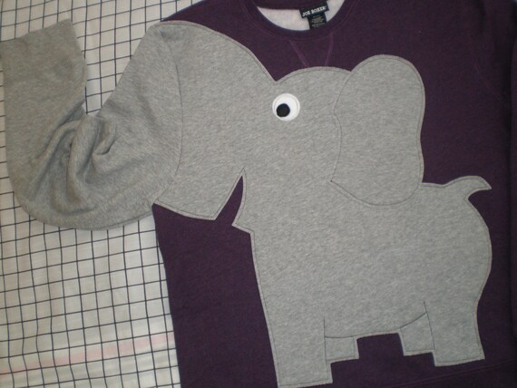 Elephant Trunk sleeve sweatshirt sweater jumper LADIES M EGGPLANT purple