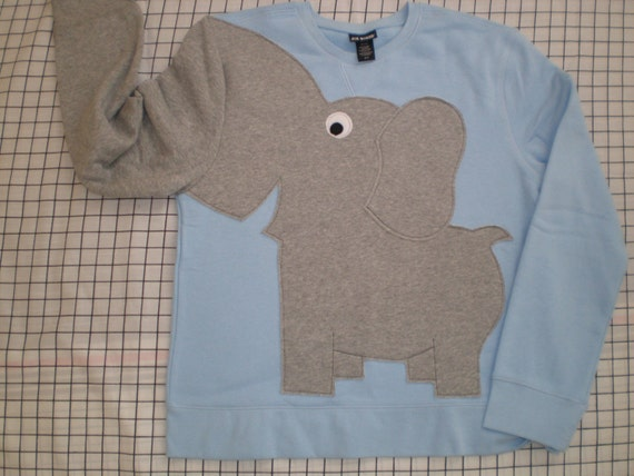 Fun Elephant Trunk sleeve sweatshirt LADIES L Powder Blue