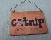 Wooden Cat Sign, Hand Painted Primitive Mini Sign, Green With Cat Quote