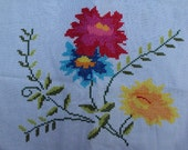 Vintage Floral Cutter Linen, Embroidered Table Runner, Mantel Scarf