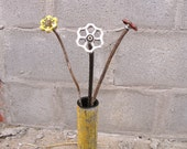 Industrial Home and Garden Decor. Chunky Chalk White Steampunk Flower made from faucet handle, rebar and found objects.