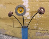 Metal Found Object Art Flower, Industrial Decor - Steampunk Flower