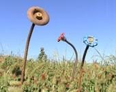 Steampunk  Flower. Industrial Garden Decor.  Metal Flower Art - rebar, found objects.