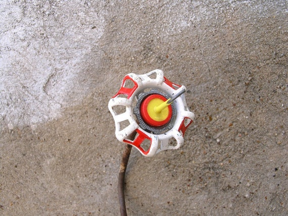 Metal Flower, Industrial Decor. Home and Garden. Red orange and white tall skinny flower