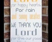 Kitchen Prayer - handpainted wood sign - We thank you Lord - typography word art - subway sign