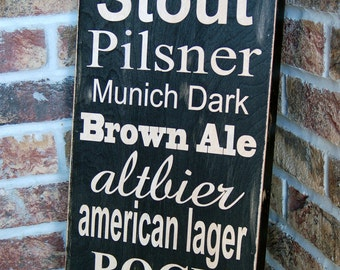 Subway style sign - types of BEER - handcrafted wood rustic distressed look