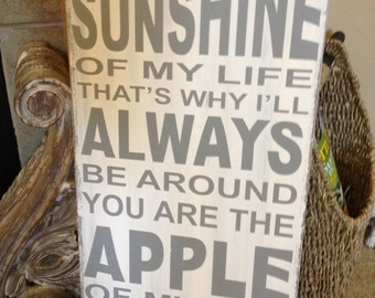 You are the sunshine of my life sign - handcrafted and handpainted - white wash with gray lettering
