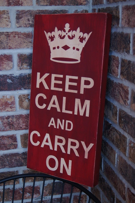 Keep Calm and Carry On wood sign - barn red