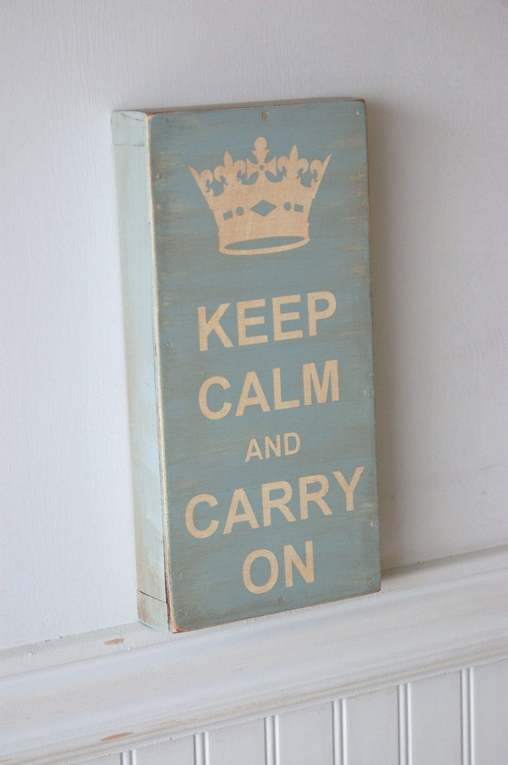 Keep Calm and Carry On - Beach House Blue - Robin's Egg Blue - small wood sign - spring summer decor -
