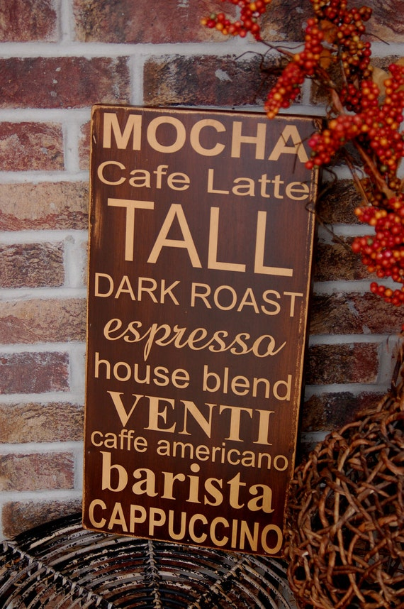 Coffee Subway Style Art Sign - handcrafted wood sign