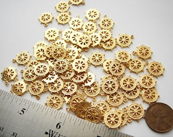 20 12mm vintage Ships wheel charms gold tone HC005.