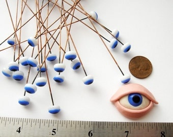 8 millimeter vintage glass blue eyes HC013.