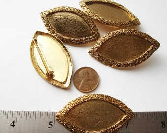 5 Vintage gold tone marquise shaped Brooches HC045.