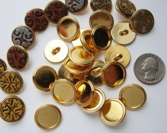 10 vintage gold tone 3 quarter inch Buttons with shank HC082.