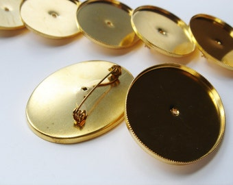 10 Vintage Gold tone Oval Brooch Findings HC136.