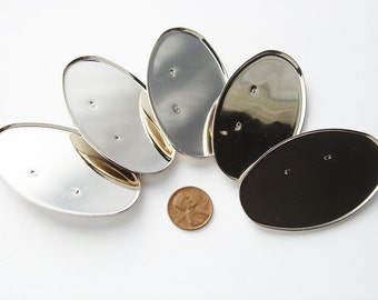 3 pieces silver toned vintage oval brooches HC181.