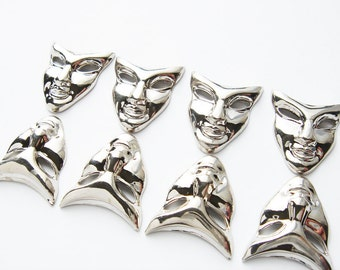 8 pieces silver plated vintage Fairy Face Mask embellishments