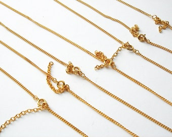 7 vintage gold tone necklace chain with round clasp split ring jump rings and extension chain HC190
