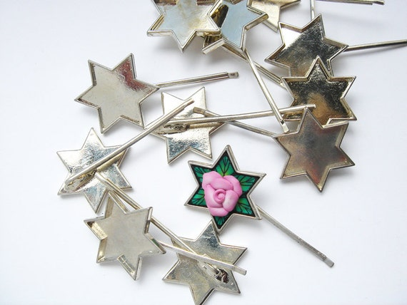 11 vintage silver tone 6 pointed star bobby pins HC083.