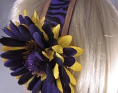 Purple & Gold Tiger Headband with Purple and Gold Flower Clip