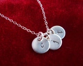 Hand Stamped Sterling Silver Necklace Monogram Tiny Initial Charm