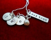 Anniversary Sterling Silver Hand Stamped Disc Necklace with Charm