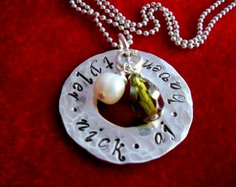 Sterling Silver Hand Stamped Necklace Hammered Washer with Kids Names