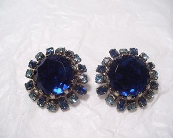 Vintage Deep Bue Rhinestone Earrings