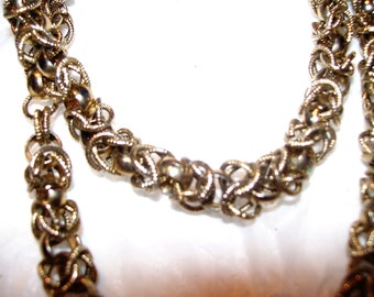 Vintage Gold  Multi-Link Necklace and Earring Set