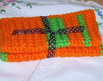 Fun, Bright Orange and Green Crocheted Dish or Wash Cloths (Set of 2)