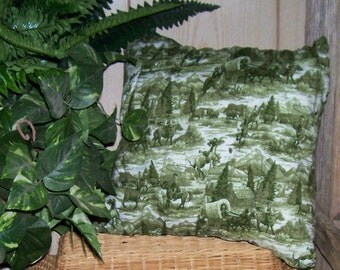 Yee Haw Cowboy Green Toile Pillow Cover